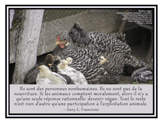 Des personnes nonhumaines, pas de la nourriture